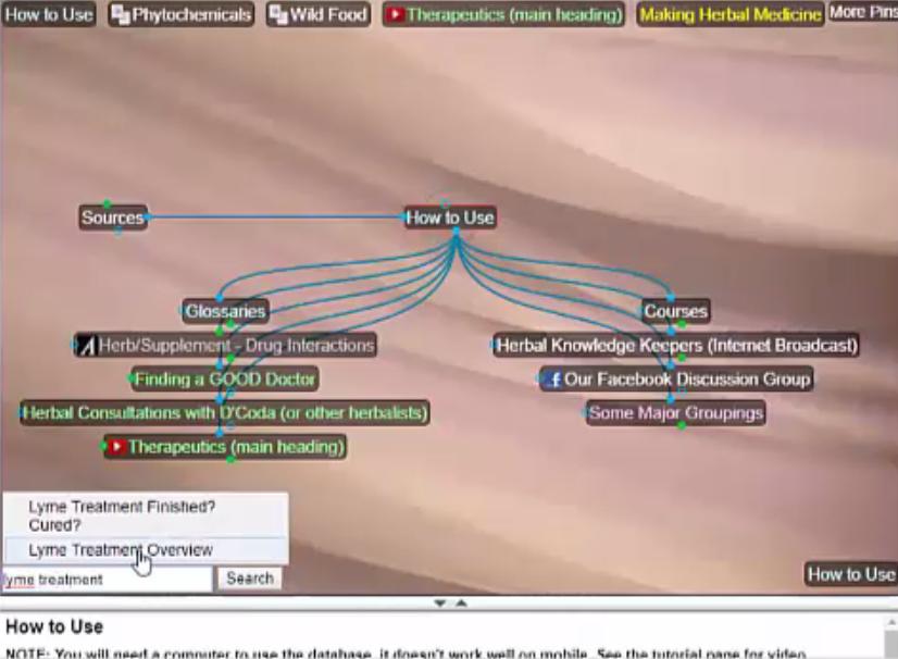 herbal database start screen